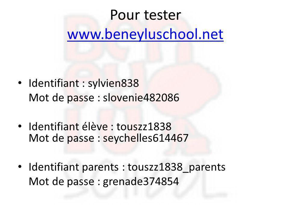 Pour tester www.beneyluschool.net