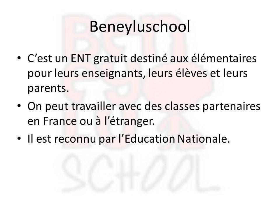 Beneyluschool C'est un ENT gratuit destiné aux élémentaires pour leurs enseignants, leurs élèves et leurs parents.