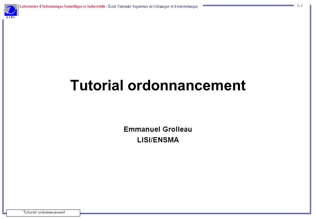 Tutorial ordonnancement
