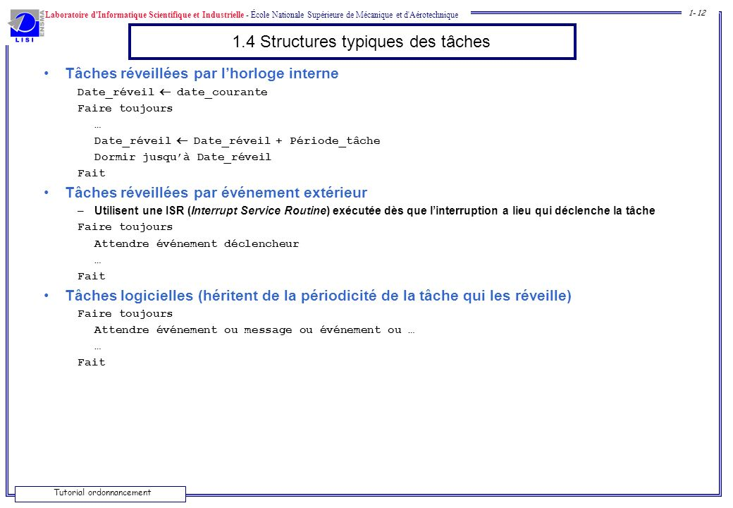 1.4 Structures typiques des tâches
