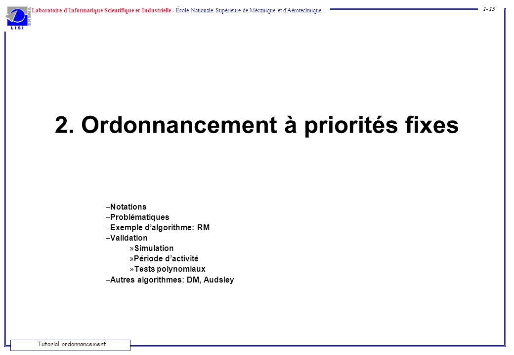 2. Ordonnancement à priorités fixes