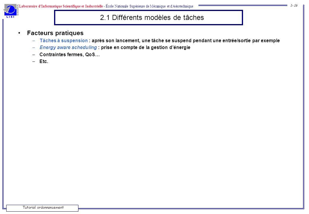 2.1 Différents modèles de tâches