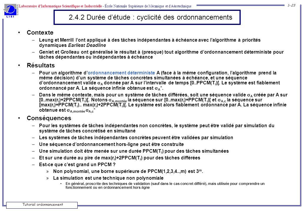 2.4.2 Durée d'étude : cyclicité des ordonnancements