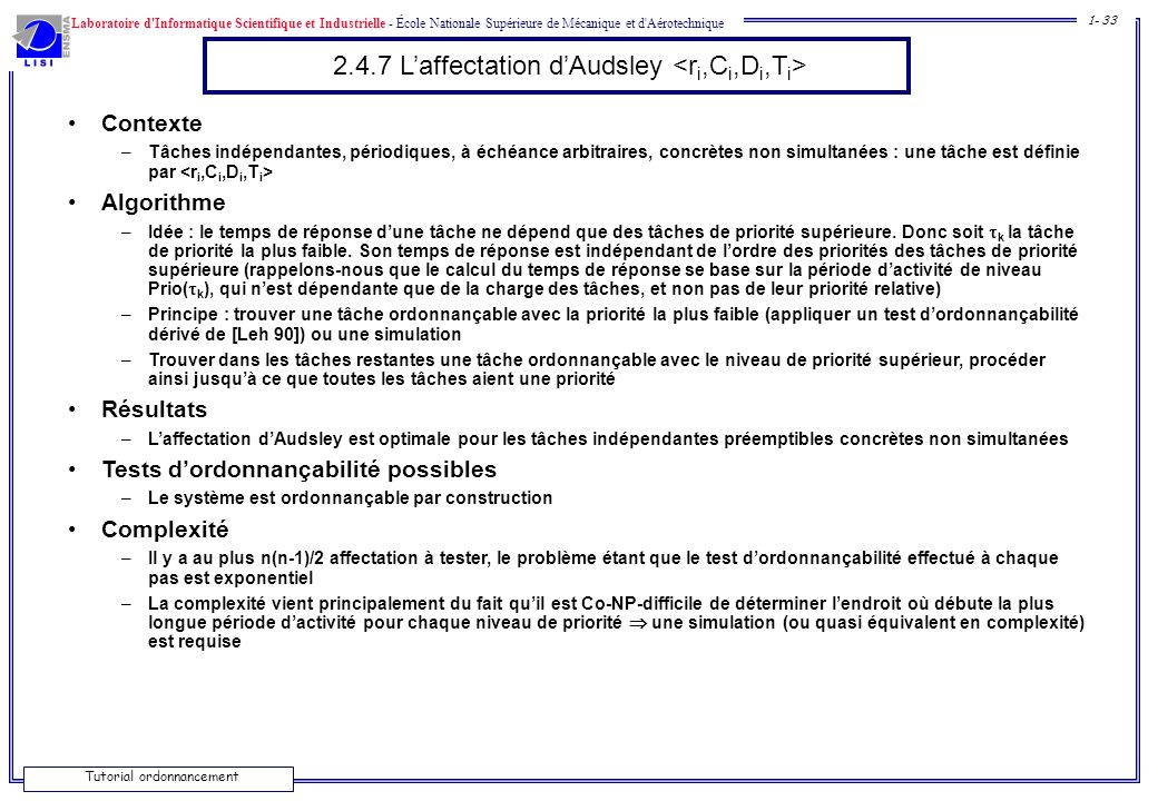 2.4.7 L'affectation d'Audsley <ri,Ci,Di,Ti>