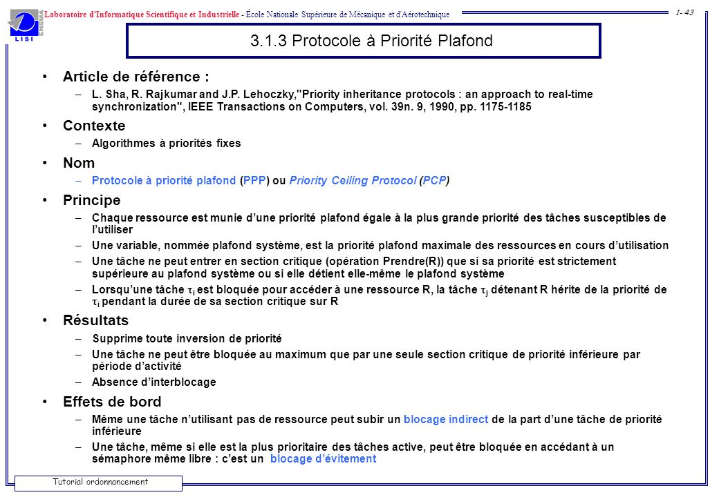 3.1.3 Protocole à Priorité Plafond