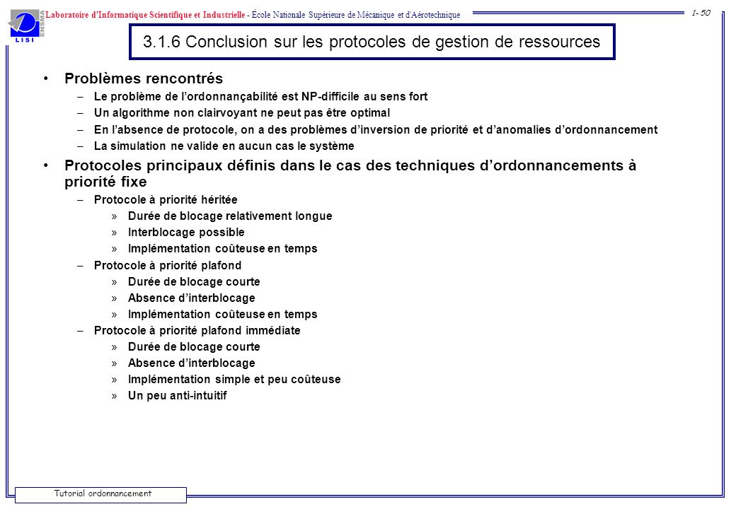 3.1.6 Conclusion sur les protocoles de gestion de ressources