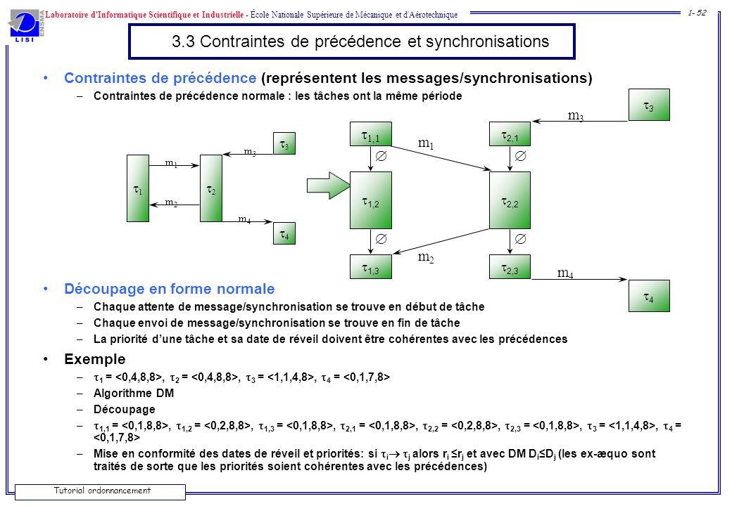 3.3 Contraintes de précédence et synchronisations
