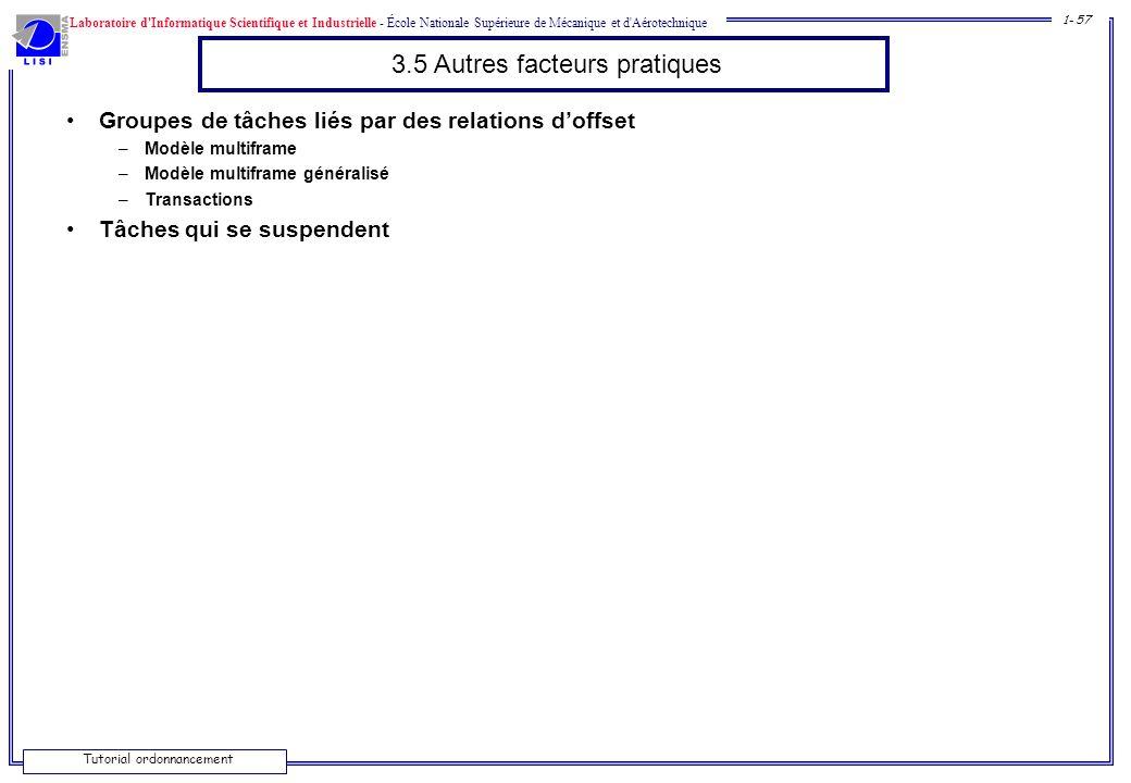 3.5 Autres facteurs pratiques