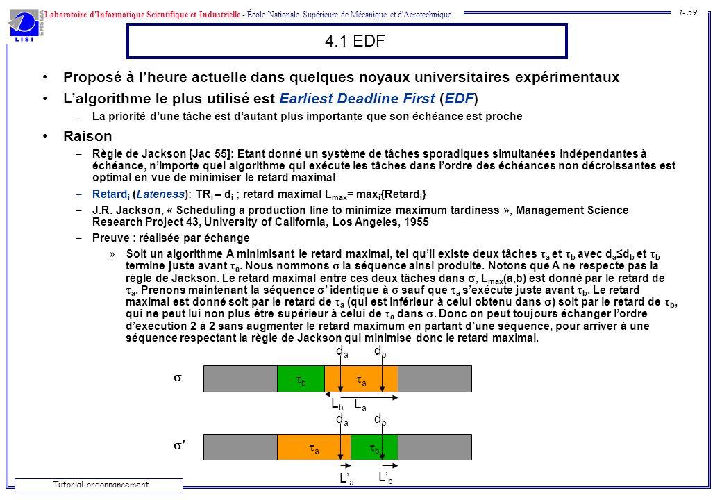 4.1 EDF Proposé à l'heure actuelle dans quelques noyaux universitaires expérimentaux. L'algorithme le plus utilisé est Earliest Deadline First (EDF)