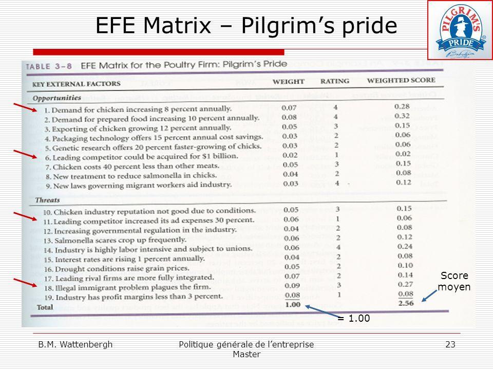 EFE Matrix – Pilgrim's pride