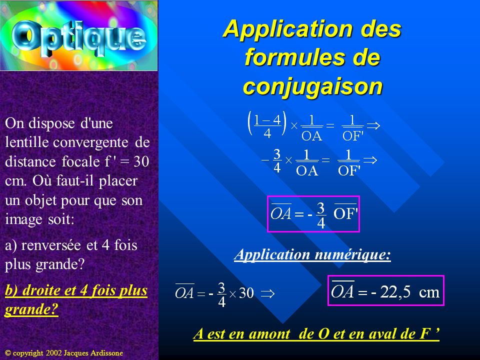 Application des formules de conjugaison