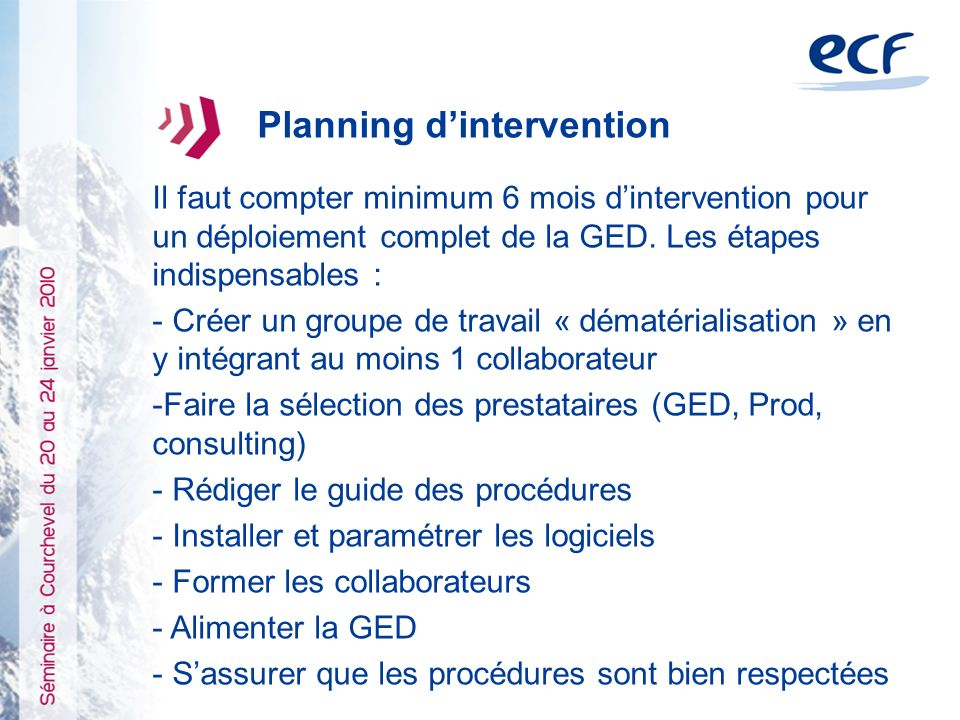 Planning d'intervention