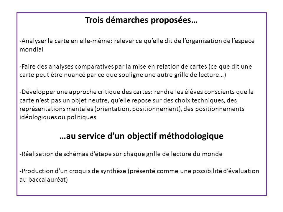 Trois démarches proposées… …au service d'un objectif méthodologique