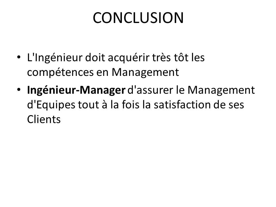 CONCLUSION L Ingénieur doit acquérir très tôt les compétences en Management.