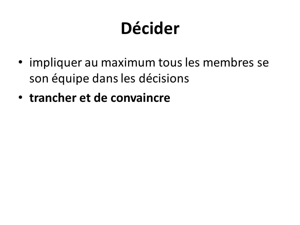 Décider impliquer au maximum tous les membres se son équipe dans les décisions.