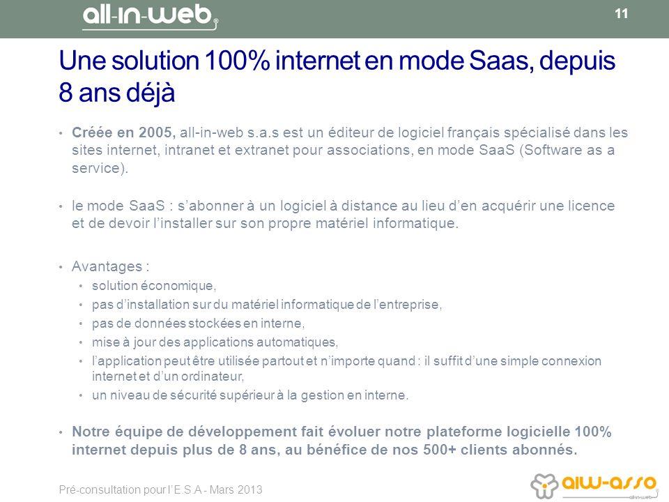 Une solution 100% internet en mode Saas, depuis 8 ans déjà