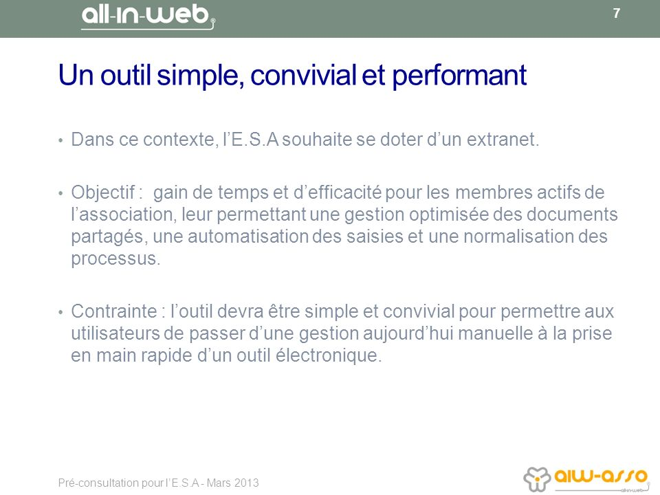 Un outil simple, convivial et performant