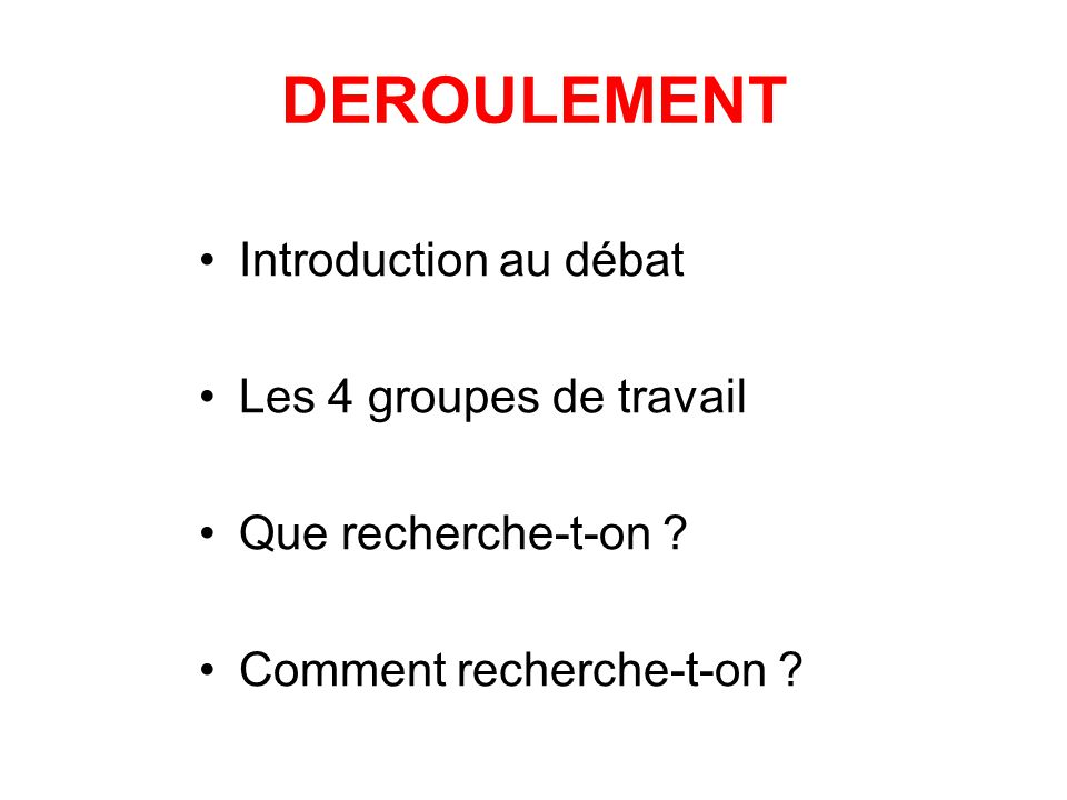 DEROULEMENT Introduction au débat Les 4 groupes de travail