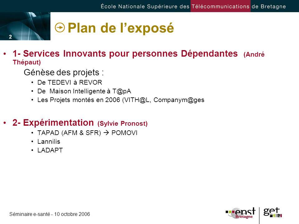 Plan de l'exposé 1- Services Innovants pour personnes Dépendantes (André Thépaut) Génèse des projets :