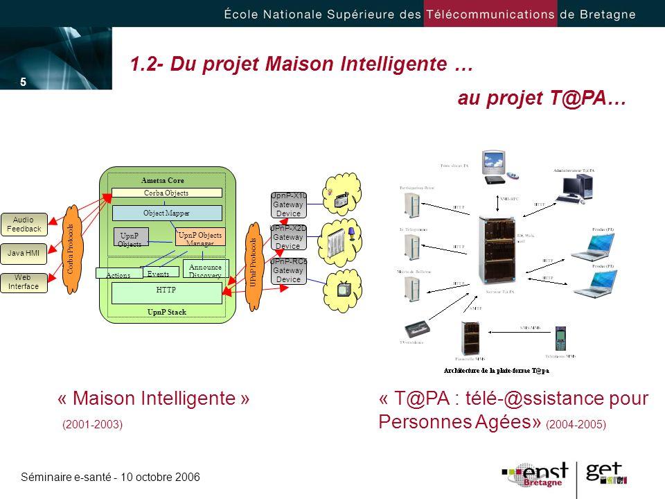 1.2- Du projet Maison Intelligente … au projet T@PA…