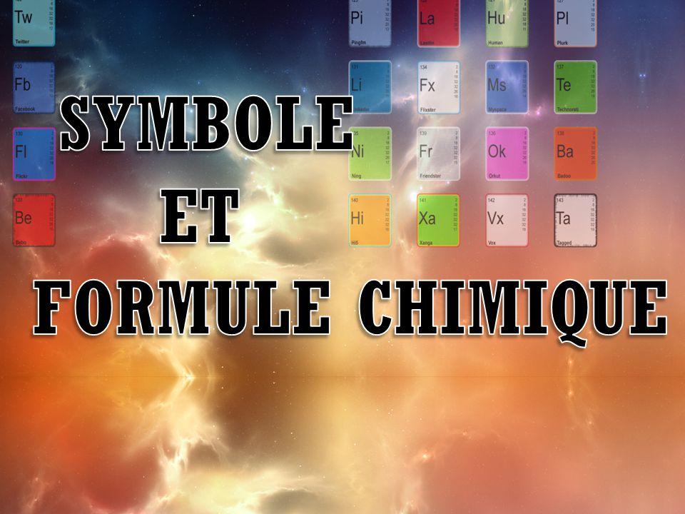 Symbole et Formule chimique