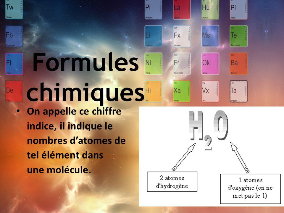 Formules chimiques On appelle ce chiffre indice, il indique le