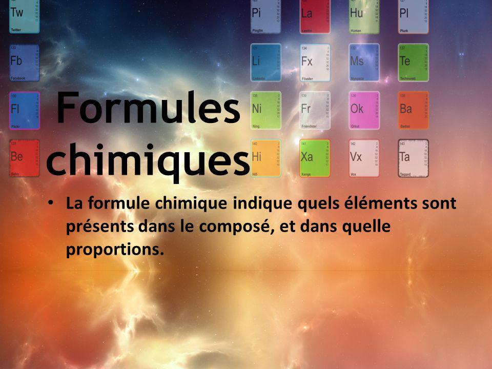 Formules chimiques La formule chimique indique quels éléments sont présents dans le composé, et dans quelle proportions.