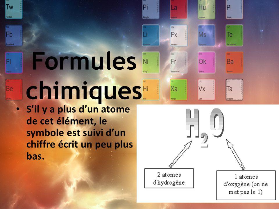 Formules chimiques S'il y a plus d'un atome de cet élément, le symbole est suivi d'un chiffre écrit un peu plus bas.