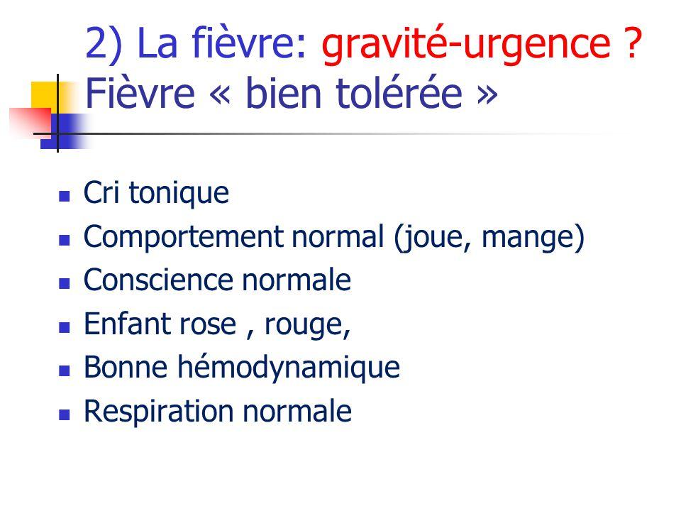 2) La fièvre: gravité-urgence Fièvre « bien tolérée »