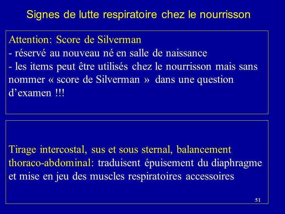 Signes de lutte respiratoire chez le nourrisson
