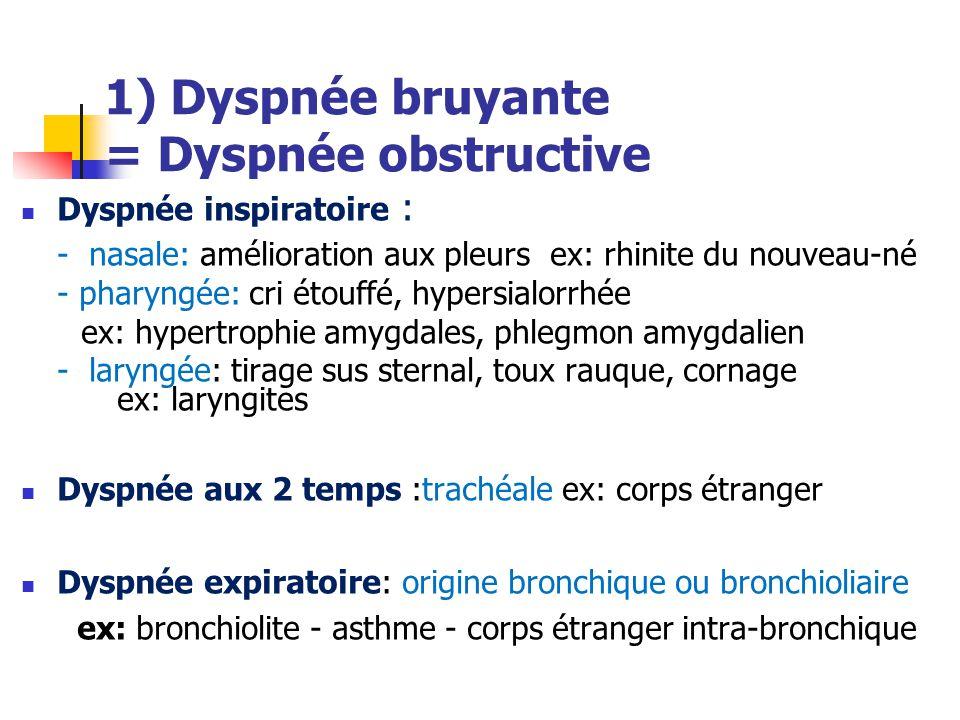 1) Dyspnée bruyante = Dyspnée obstructive