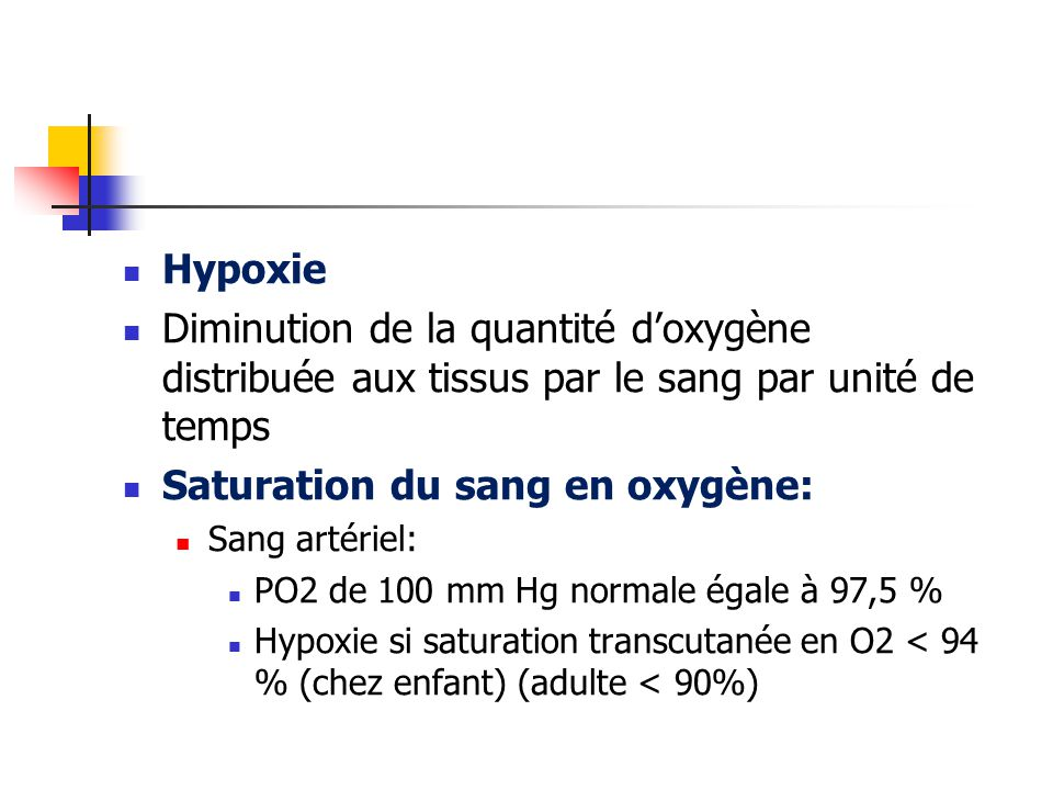 Saturation du sang en oxygène: