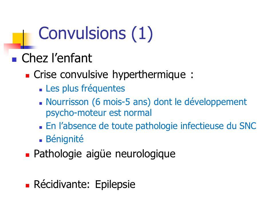 Convulsions (1) Chez l'enfant Crise convulsive hyperthermique :