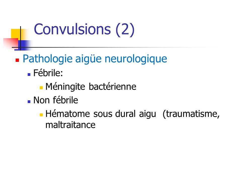 Convulsions (2) Pathologie aigüe neurologique Fébrile: