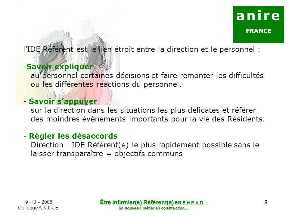 a.n.i.r.e. FRANCE. l'IDE Référent est le lien étroit entre la direction et le personnel :