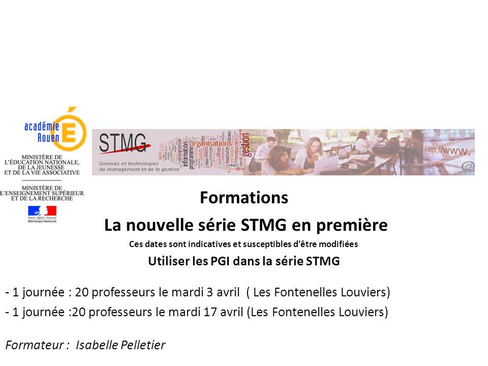 La nouvelle série STMG en première Utiliser les PGI dans la série STMG