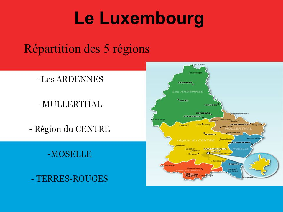 Répartition des 5 régions