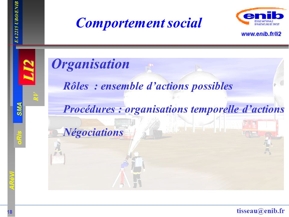 Comportement social Organisation Rôles : ensemble d'actions possibles