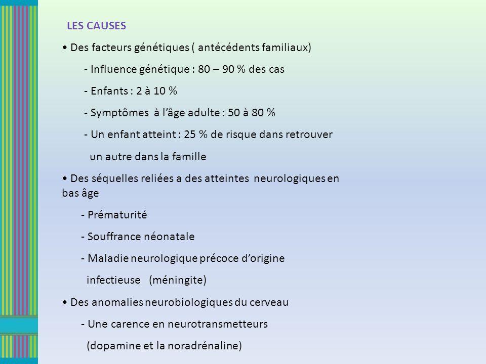 LES CAUSES Des facteurs génétiques ( antécédents familiaux) - Influence génétique : 80 – 90 % des cas.