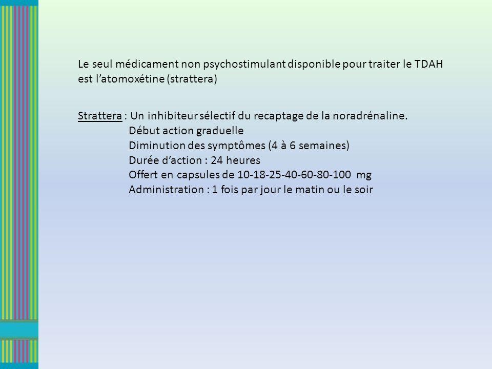Le seul médicament non psychostimulant disponible pour traiter le TDAH est l'atomoxétine (strattera)
