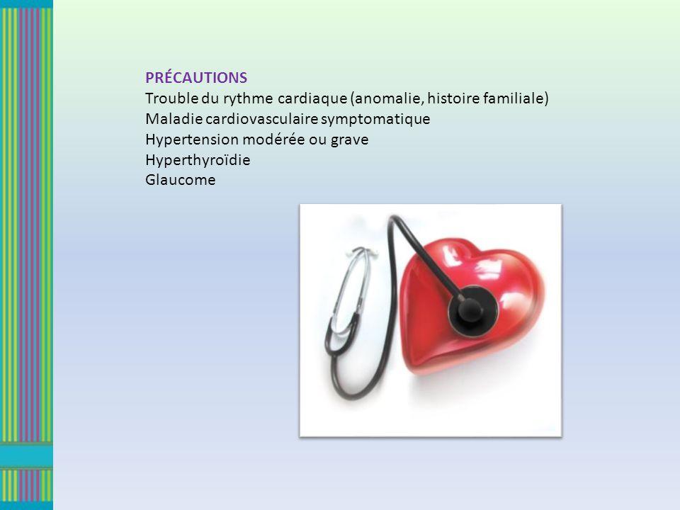 PRÉCAUTIONS Trouble du rythme cardiaque (anomalie, histoire familiale) Maladie cardiovasculaire symptomatique.