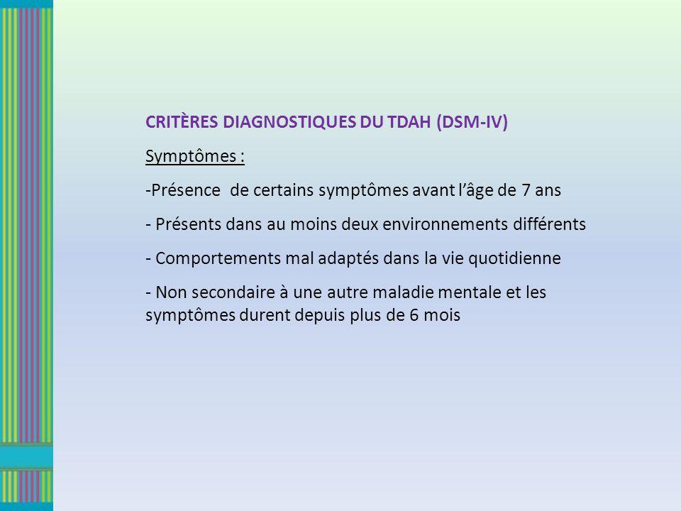 CRITÈRES DIAGNOSTIQUES DU TDAH (DSM-IV)