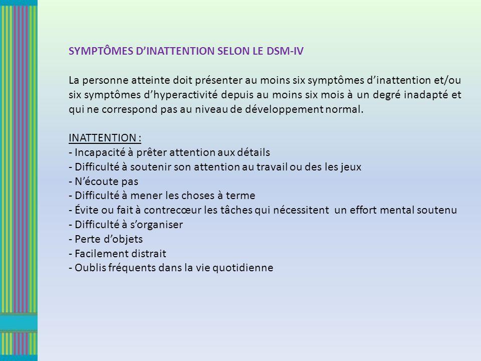 SYMPTÔMES D'INATTENTION SELON LE DSM-IV