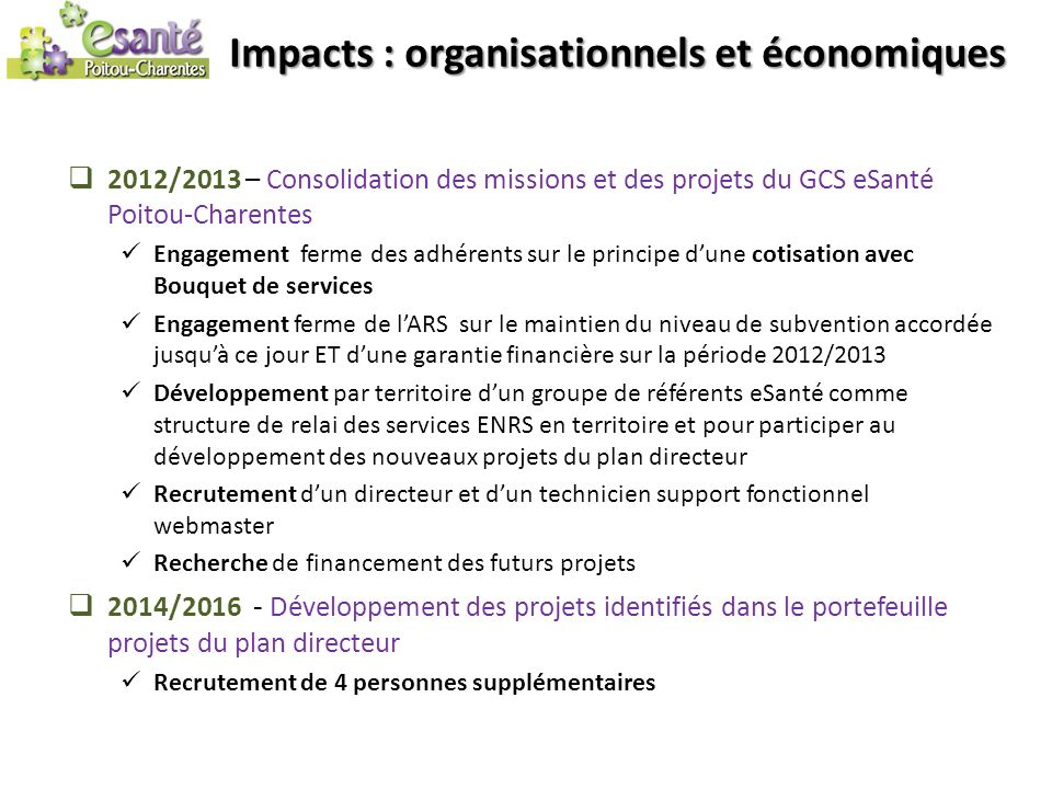 Impacts : organisationnels et économiques