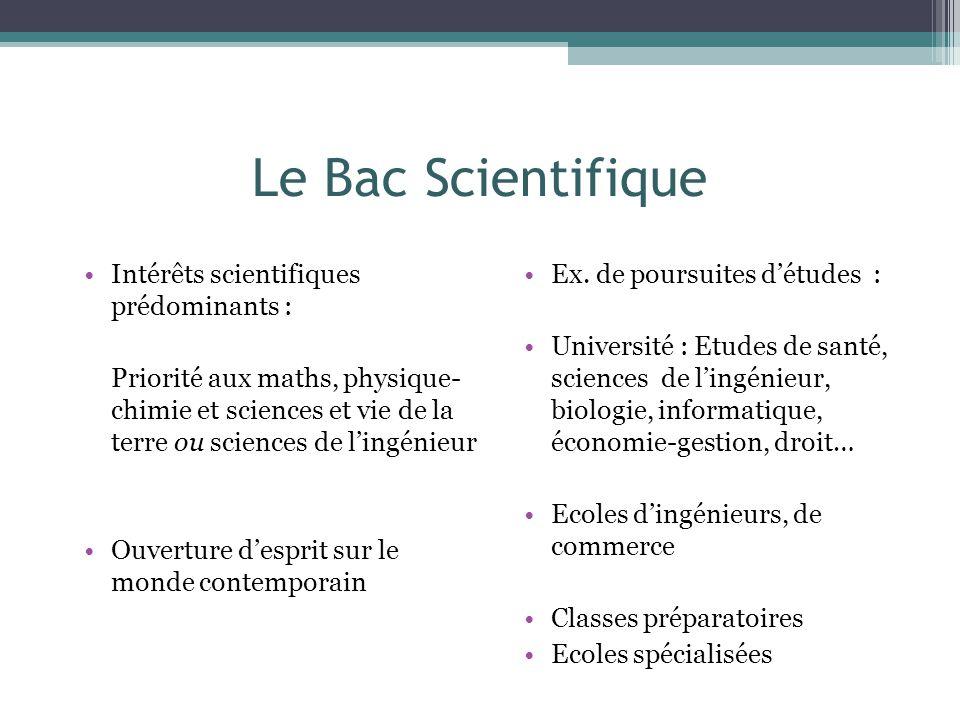 Le Bac Scientifique Intérêts scientifiques prédominants :