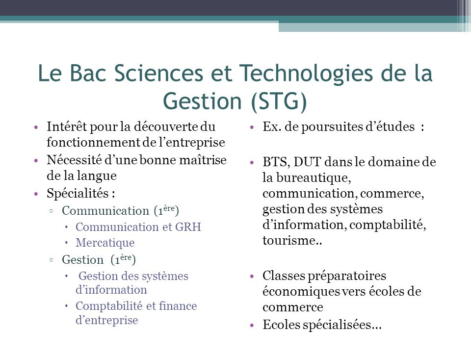 Le Bac Sciences et Technologies de la Gestion (STG)