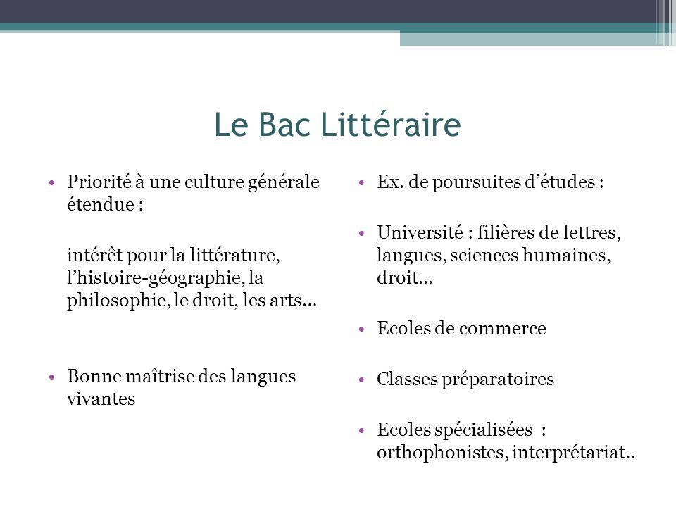 Le Bac Littéraire Priorité à une culture générale étendue :