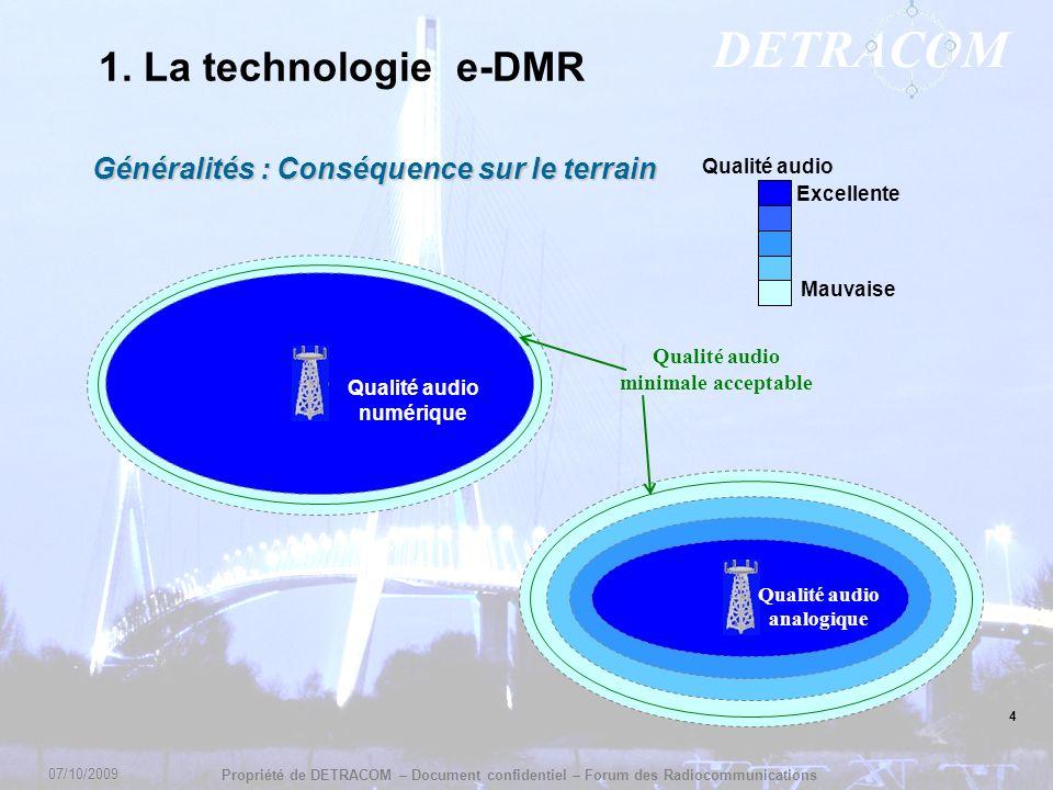 1. La technologie e-DMR Généralités : Conséquence sur le terrain