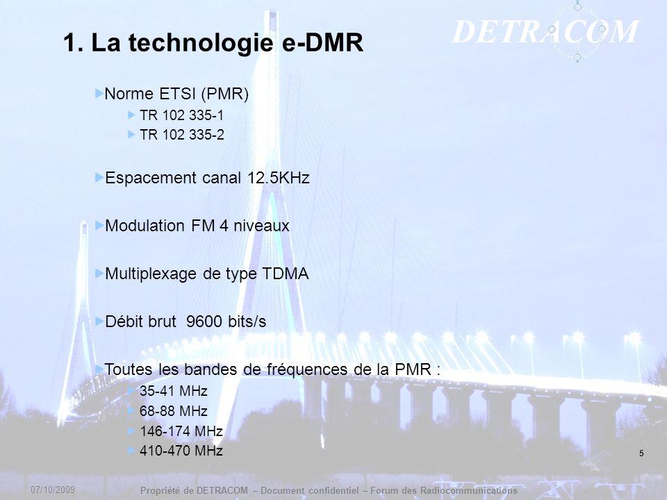 1. La technologie e-DMR Norme ETSI (PMR) Espacement canal 12.5KHz