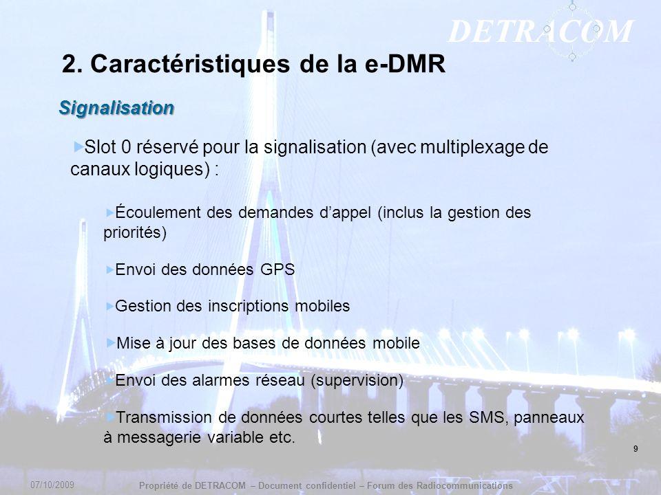 2. Caractéristiques de la e-DMR